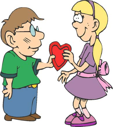 boy and girl exchanging a valentine heart