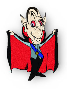 Dracula and his black cape. Clipart for web pages.