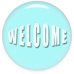 welcome button blue round glass